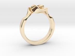 Twist Interlock Ring_B in 14k Gold Plated Brass: 8 / 56.75