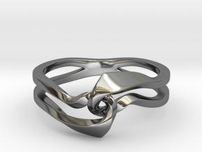 Twist Interlock Ring_C in Fine Detail Polished Silver: 8 / 56.75