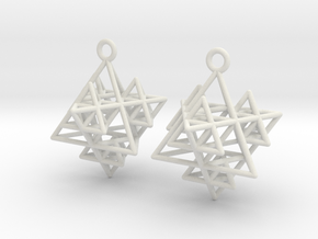 Koch Tetrahedron Earrings in White Natural Versatile Plastic