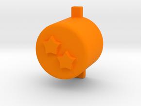 Two star button in Orange Processed Versatile Plastic