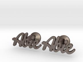 "Custom Name Cufflinks - ""Abie"" in Polished Bronzed-Silver Steel"