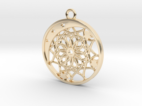 Moon, Stars and Dream Catcher Pendant in 14K Yellow Gold