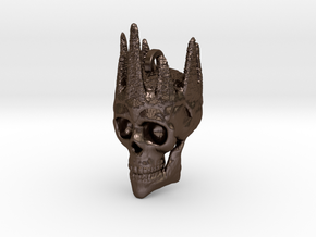 Czar of Devil Skull Keychain/Pendant  in Polished Bronze Steel