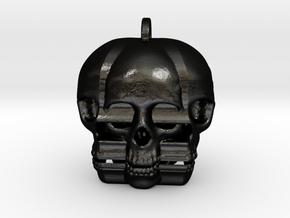 Distraught Skull Keychain/Pendant in Matte Black Steel