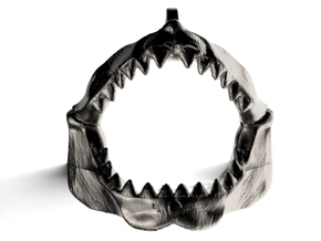 Great White Shark Jaw Keychain/Pendant in Polished Nickel Steel