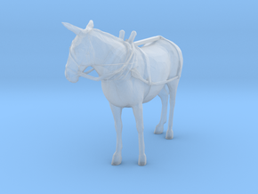 O Scale Mule with harness in Smooth Fine Detail Plastic