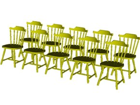 1/48 scale wooden chairs set A x 10 in Smooth Fine Detail Plastic