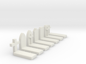 O Scale Cemetery Graves Graveyard 1:43 in White Natural Versatile Plastic