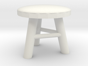 Stool 1/24 in White Natural Versatile Plastic