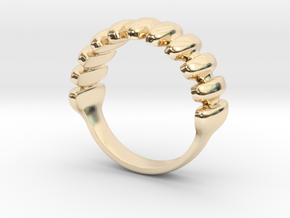Rippled Pattern Lady's (Pre-engagement) Ring in 14K Yellow Gold