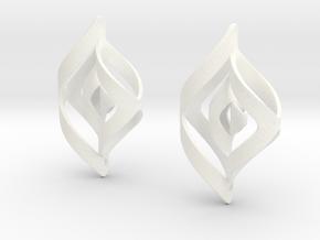 Swirl Design Earrings in White Processed Versatile Plastic
