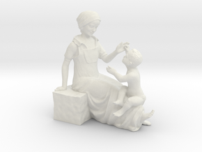 Son and Mother Decorative Ornaments Figurine in White Natural Versatile Plastic