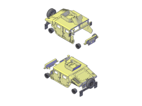 M1114 Humvee Armor W/ Spare Tire Bumper and Turret in Smooth Fine Detail Plastic