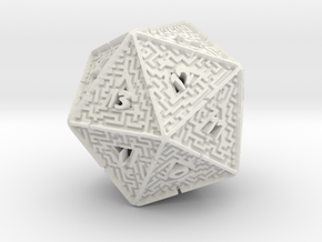 20 Sided Maze Die V2 in White Strong & Flexible