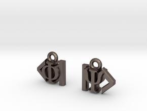 Dirac Bracket Notation Earrings in Polished Bronzed Silver Steel