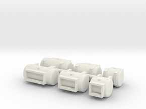 1/64th Builders Pack truck fuel tanks w steps in White Natural Versatile Plastic