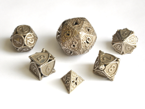 Shield Dice Set - Balanced in Polished Bronzed-Silver Steel
