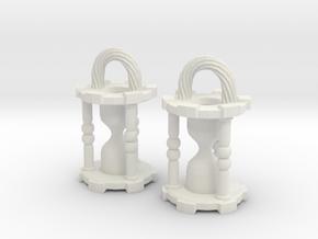 HourglassEarringsSmall in White Natural Versatile Plastic