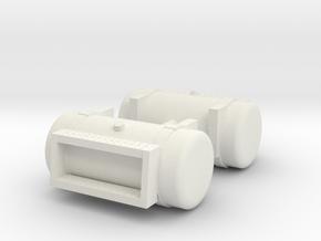 "1/50th Diesel Truck 48"" Fuel Tanks w Steps in White Natural Versatile Plastic"
