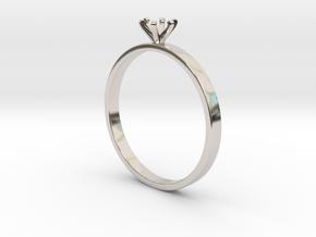 Plain Size 7 Ring - 4mm Gem - 6 prong - v4 in Platinum