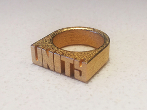 17.5mm Replica Rick James 'Unity' Ring in Polished Gold Steel