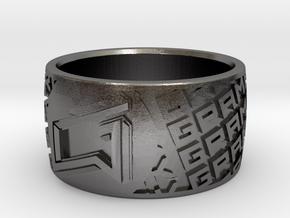 Gramatik Ring in Polished Nickel Steel: 8 / 56.75