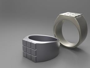 Rubik Ring in Polished Grey Steel