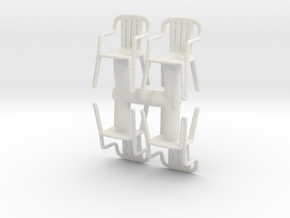 Plastic Chair (x4) 1/56 in White Natural Versatile Plastic
