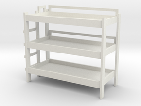 Triple Bunk Bed 1/12 in White Natural Versatile Plastic
