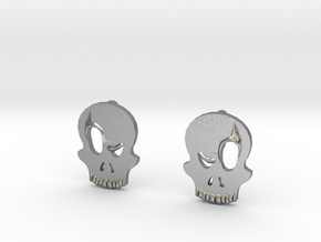 Eyebrow Skull Earrings (Small) in Natural Silver