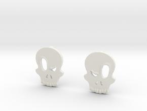 Eyebrow Skull Earrings (Small) in White Natural Versatile Plastic