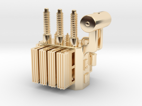 High Voltage Oil Filled Transformer in 14k Gold Plated Brass: 1:64 - S