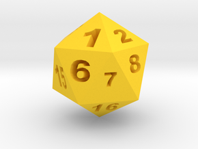 二十面骰子 in Yellow Processed Versatile Plastic: Small