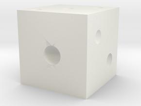 正方形骰子(點數) in White Natural Versatile Plastic: Small