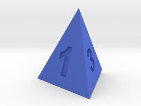 三角錐骰子 in Blue Processed Versatile Plastic