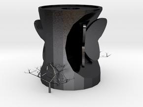 vase in Polished and Bronzed Black Steel