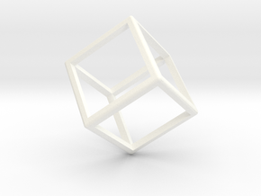 Wireframe Polyhedral Charm D6/Cube in White Processed Versatile Plastic