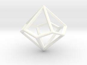 Wireframe Polyhedral Charm D10/Decahedron in White Processed Versatile Plastic