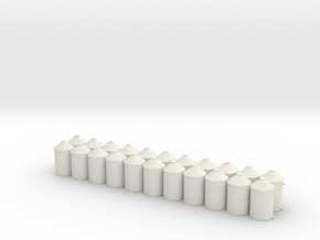 HO 1/87 Cylinder Bin 4' x 7' for flatcar loads in White Natural Versatile Plastic