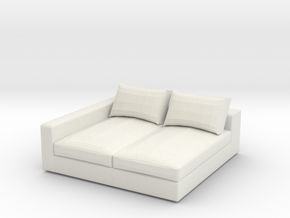 Miniature 1:24 Sofa in White Natural Versatile Plastic: 1:24