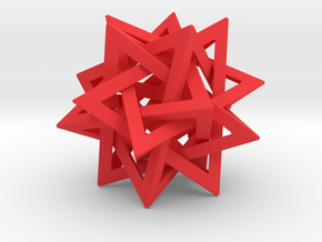 Tetrahedron 5 Star 2.4 diameter in Red Processed Versatile Plastic