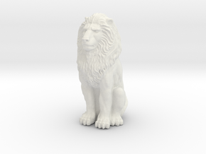 Lion - Seated 1:48 in White Natural Versatile Plastic
