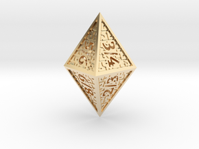 Hedron D8 Tarmogoyf (Hollow), balanced die in 14k Gold Plated Brass