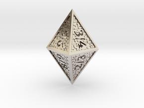Hedron D8 Tarmogoyf (Hollow), balanced die in Rhodium Plated Brass