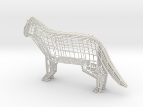 Wireframe cat in White Natural Versatile Plastic
