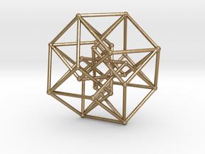 4d Hypercube  in Polished Gold Steel