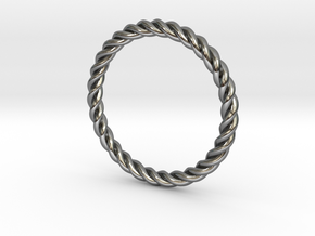 Ring Twisted 16 mm diameter or size 5.5  in Fine Detail Polished Silver
