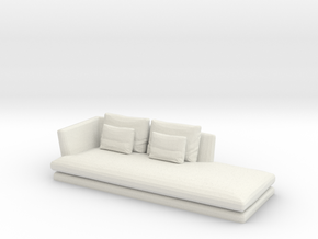Miniature 1:48 Sofa in White Natural Versatile Plastic: 1:48 - O