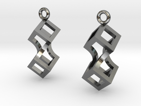 Linked cubes [earrings] in Polished Silver