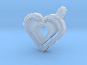 Enjoined Hearts Pendant in Smooth Fine Detail Plastic